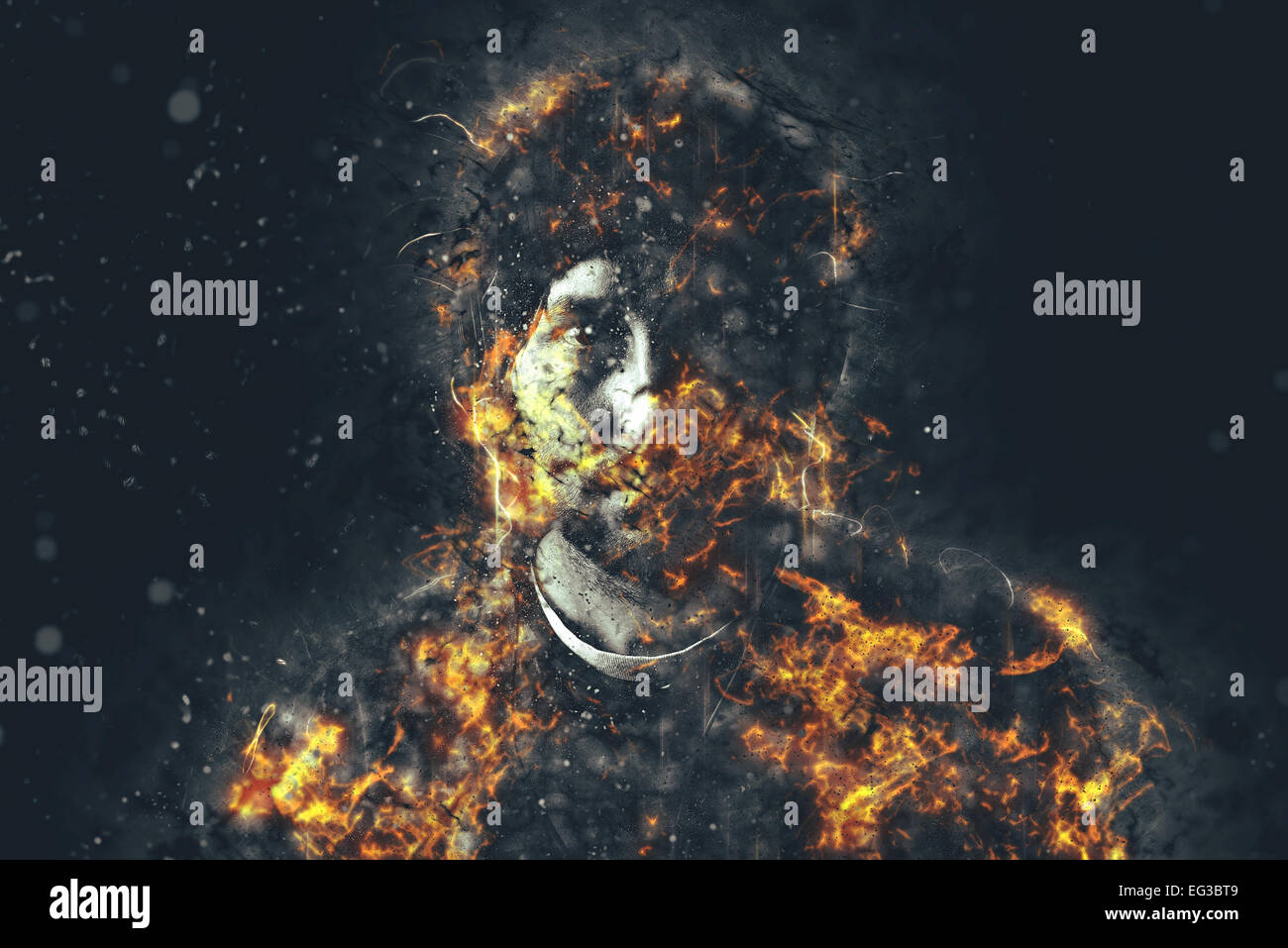 Portrait of urban young adult male in flames, image manipulation. - Stock Image