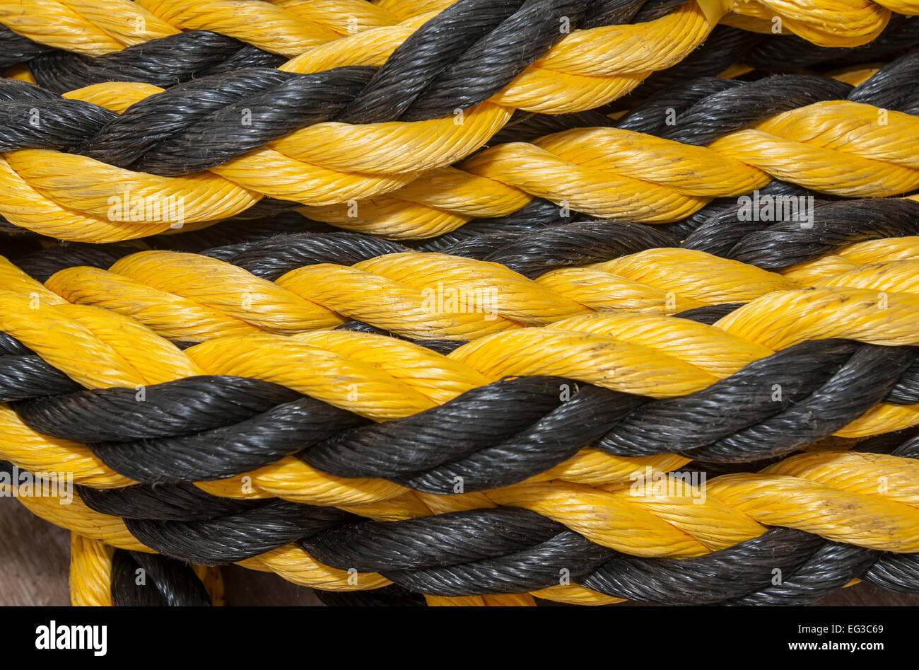 A tangle of nylon ropes black and yellow - Stock Image