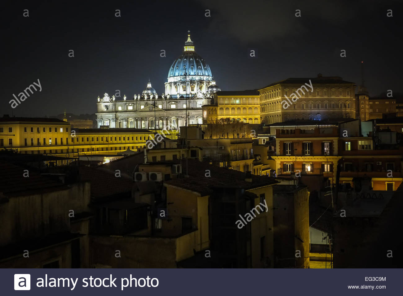 View of the St Peter's Basilica and Vatican city - Stock Image