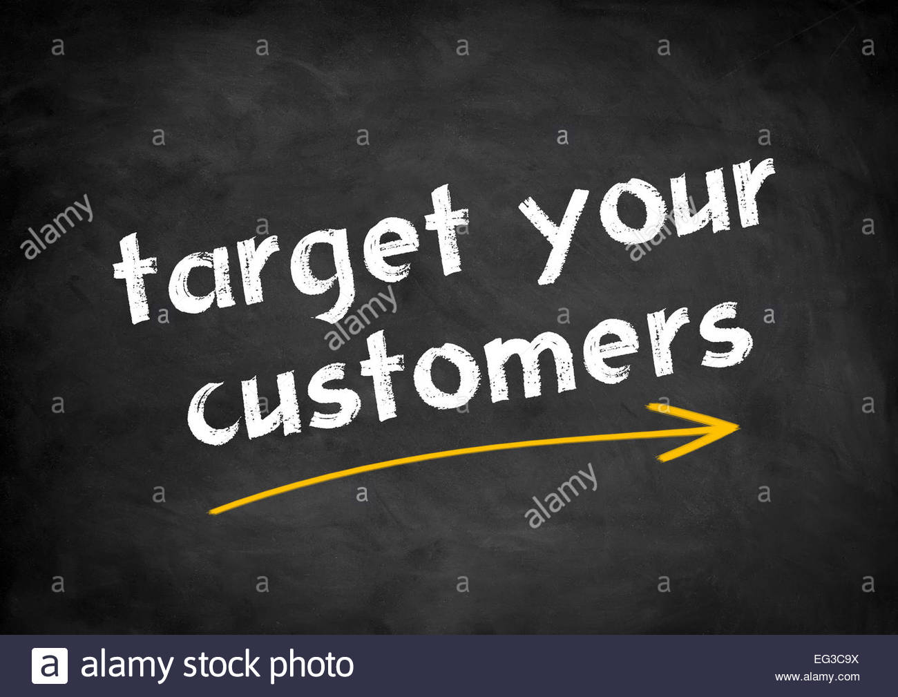 target your customers chalkboard concept - Stock Image
