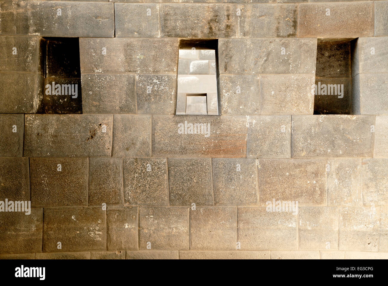 Three trapezoidal windows and Inca wall, Temple of the Rainbow, Coricancha, Convento de Santo Domingo del Cusco, - Stock Image