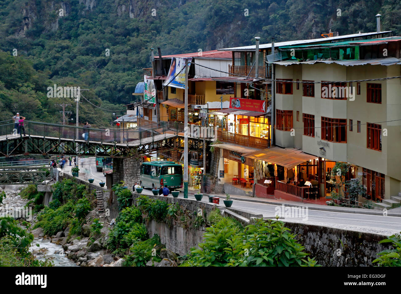 Ramshackle architecture, Aguas Calientes, aka Machu Picchu Pueblo, Urubamba, Cusco, Peru Stock Photo