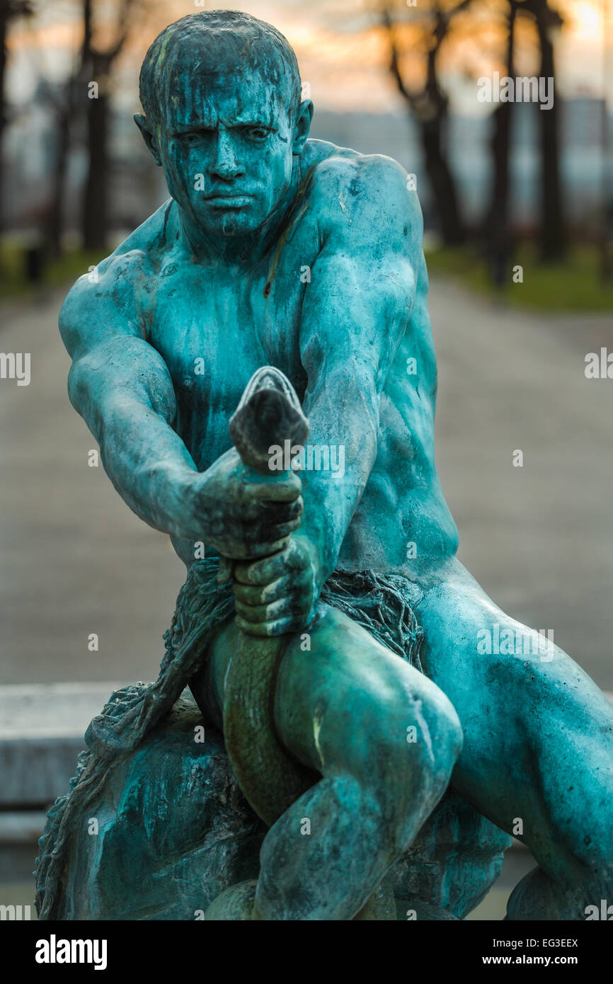 The Struggle sculpture and fountain by Simeon Roksandic lies at the heart of Kalemegdan in Belgrade Serbia - Stock Image