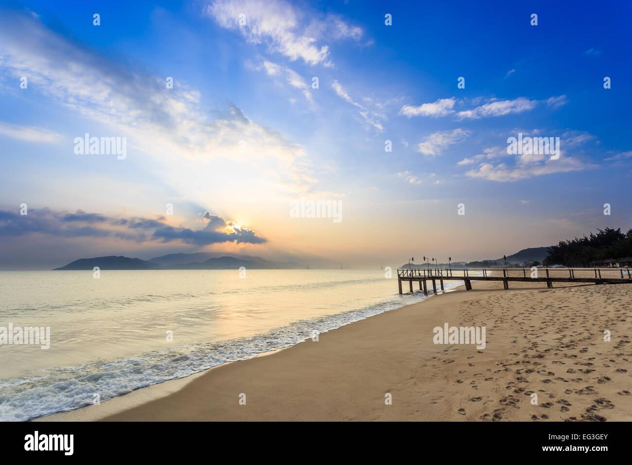 Nha Trang City Beach, Vietnam. Early Morning - Stock Image