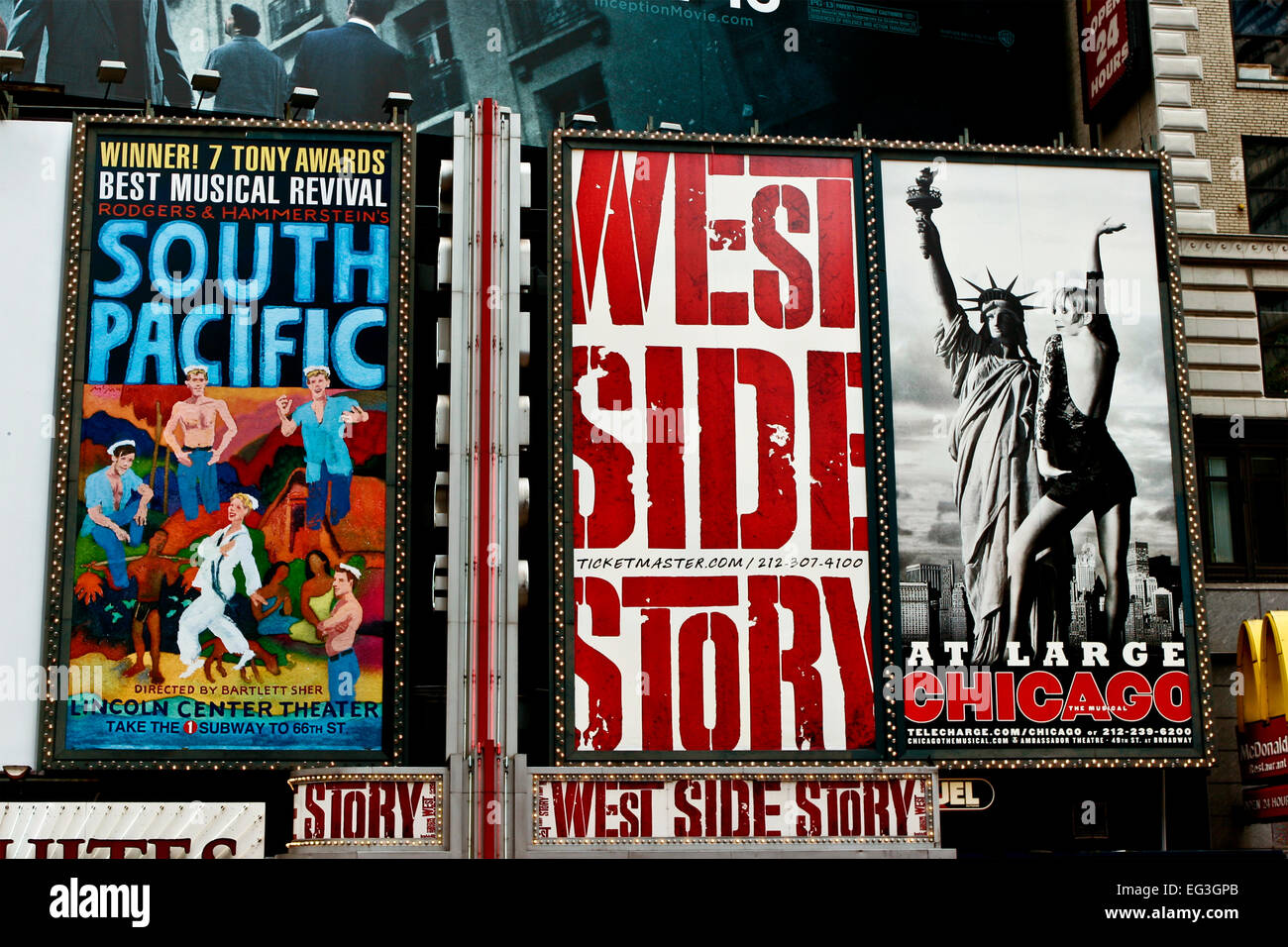 Broadway musical ads for shows, along 42nd Street at Times Square. Advertising billboard sign. Theater district. - Stock Image