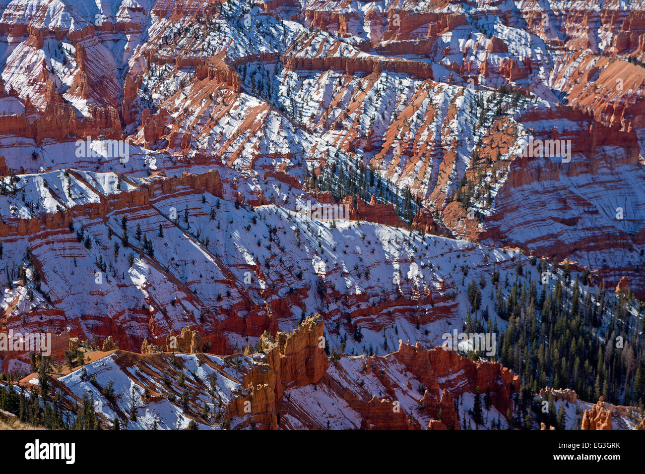 Snow covers Cedar Breaks National Monument in Utah in fall. USA - Stock Image