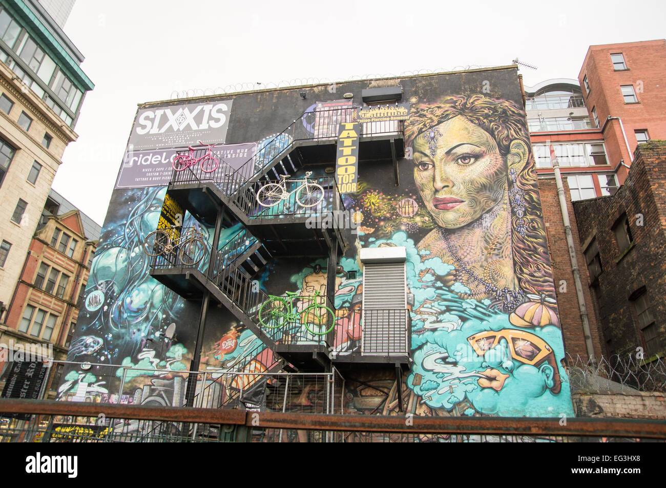 Earth, Wind, Fire and Water Graffiti Art Mural in Manchester City Centre - Stock Image