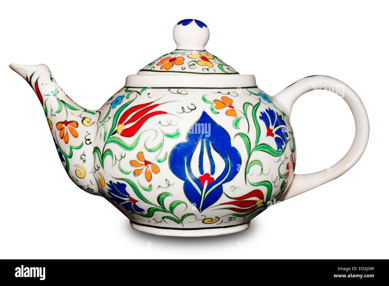 ceramic teapot on white background - Stock Image