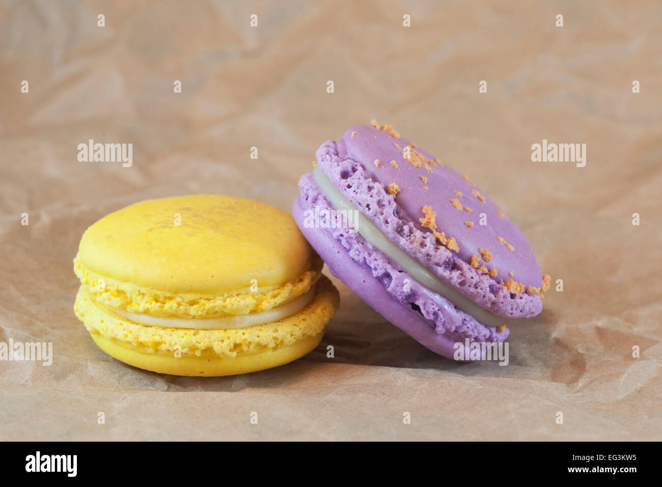Macarons: lemon and lavender with apricot flavored - Stock Image
