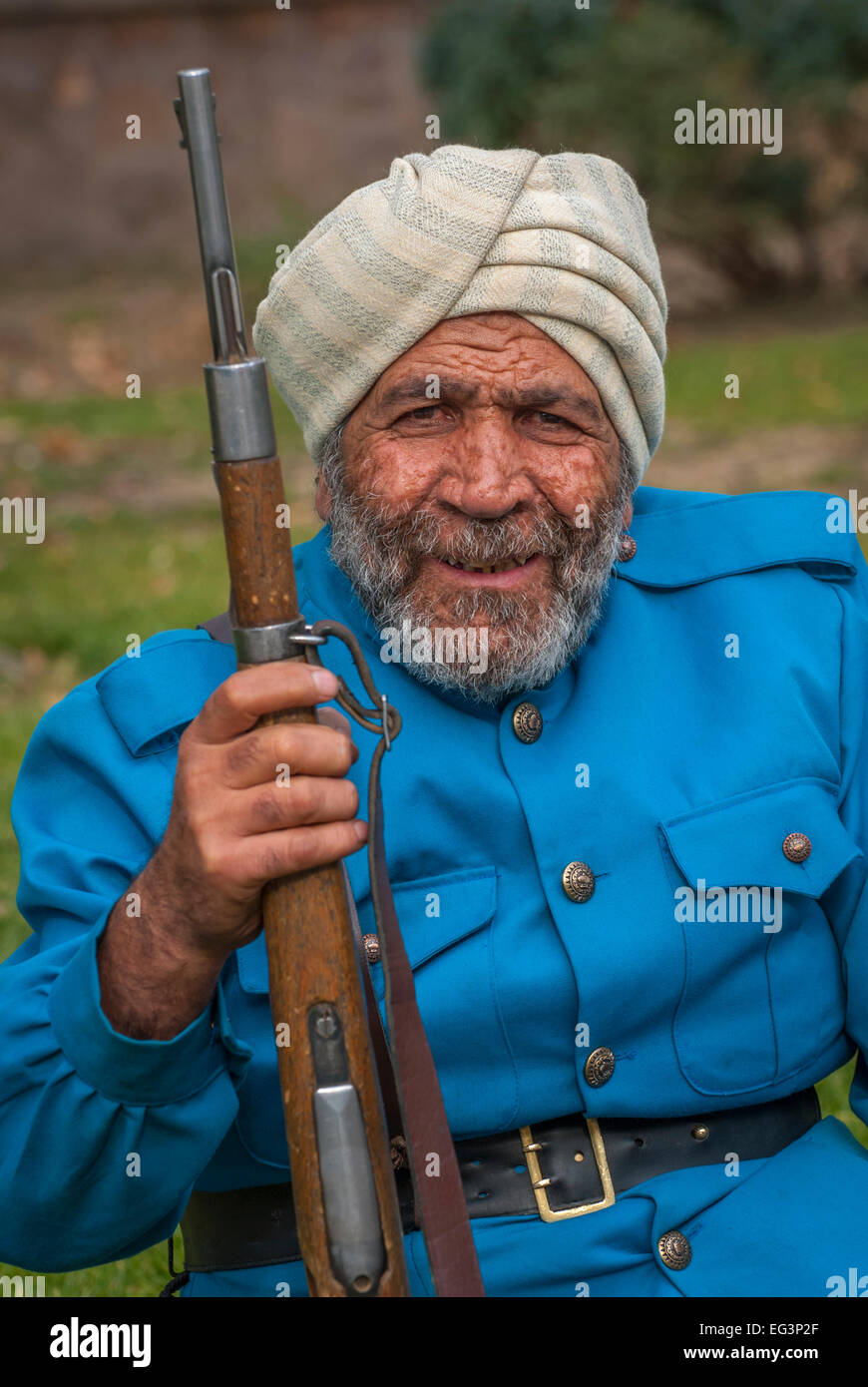 Tehran, Iran-Jan,14,2010: An actor dressed as a British Indian Army soldier  getting ready to act in a movie. - Stock Image