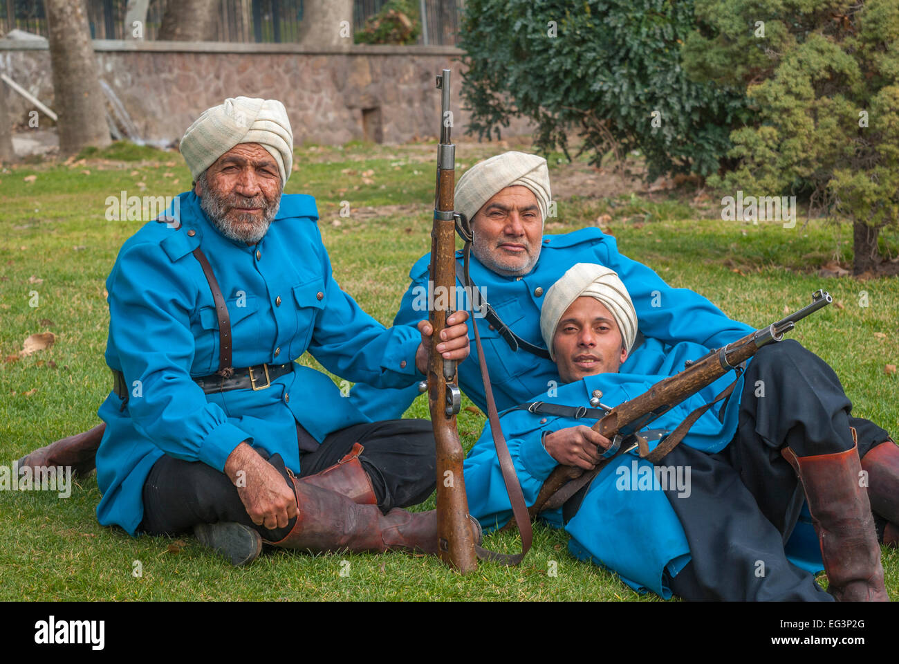 Tehran, Iran-Jan,14,2010: Actors dressed as a British Indian Army soldiers  getting ready to act in a movie. - Stock Image