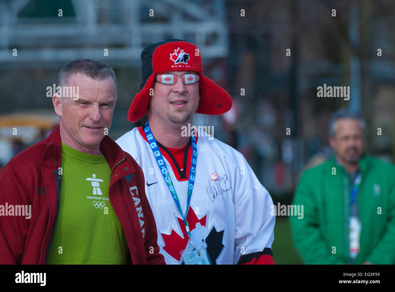 Vancouver, Canada-Feb,25,2010: Team Canada fans going to stadium during 2010 Winter Olympic Games. Stock Photo