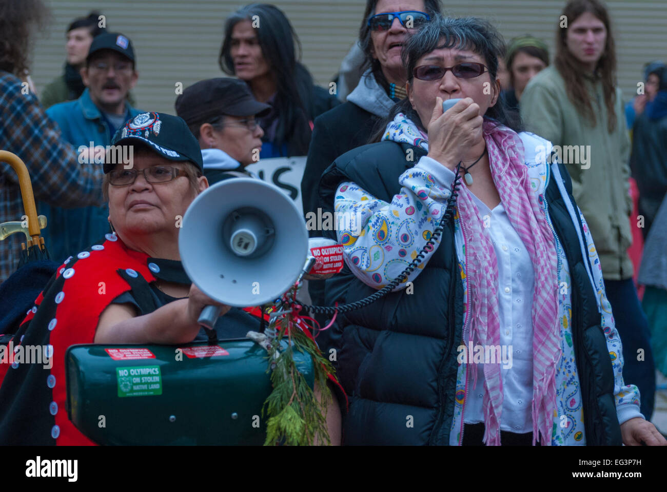 Vancouver, Canada-Feb,15,2010: Native Canadian, holding a megaphone while speaking in favor of social housing. - Stock Image