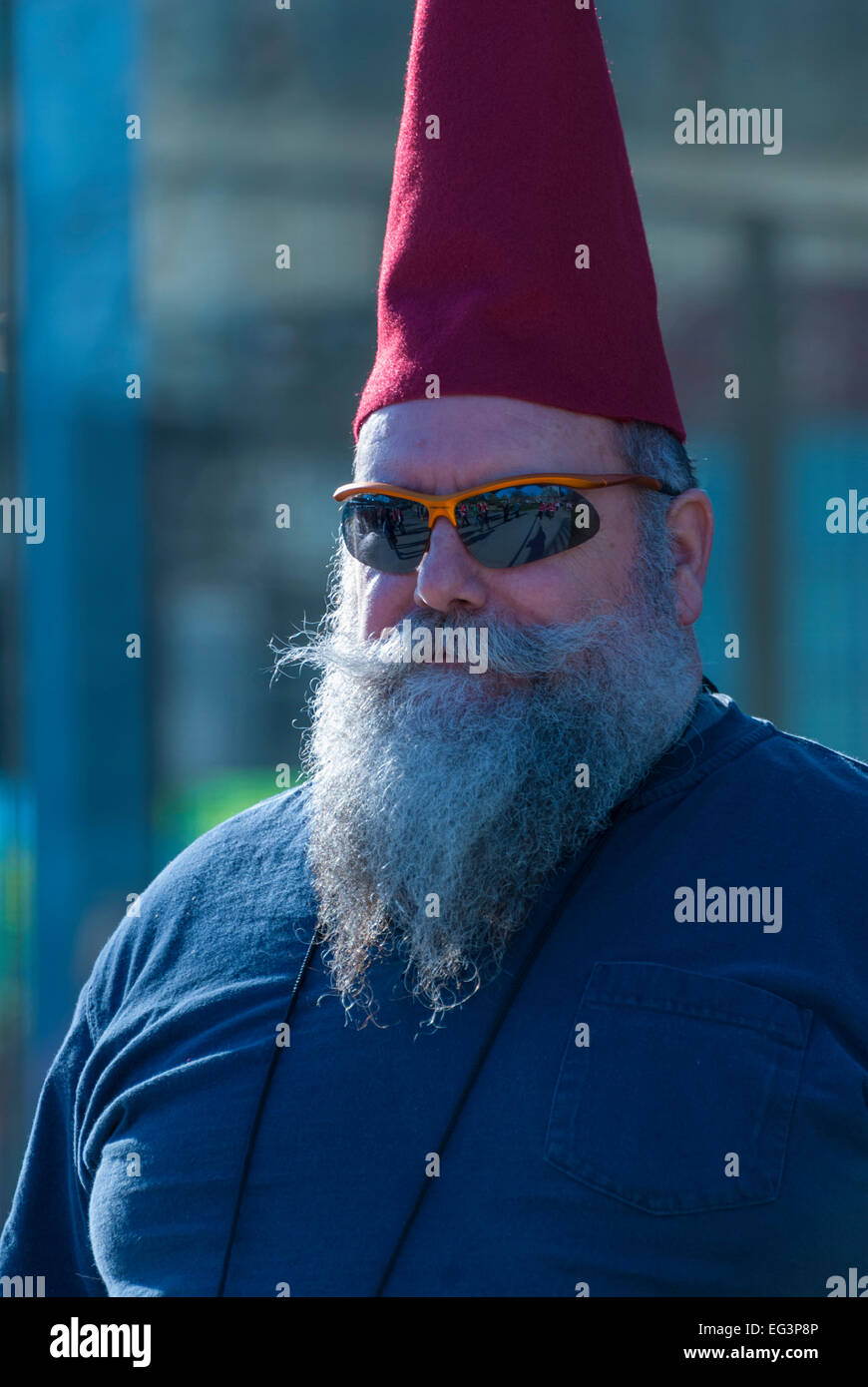 Vancouver, Canada-Feb,18,2010:Hokey fan in downtown Vancouver before one of Team Canada games during the Winter - Stock Image