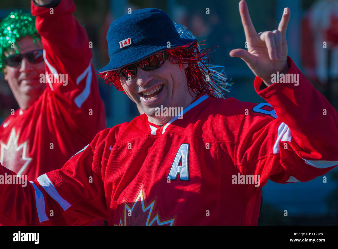 Vancouver, Canada-Feb,18,2010:Hokey fans in downtown Vancouver before one of Team Canada games during the Winter - Stock Image