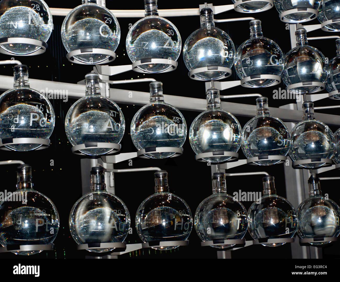 glass laboratory beakers Stock Photo
