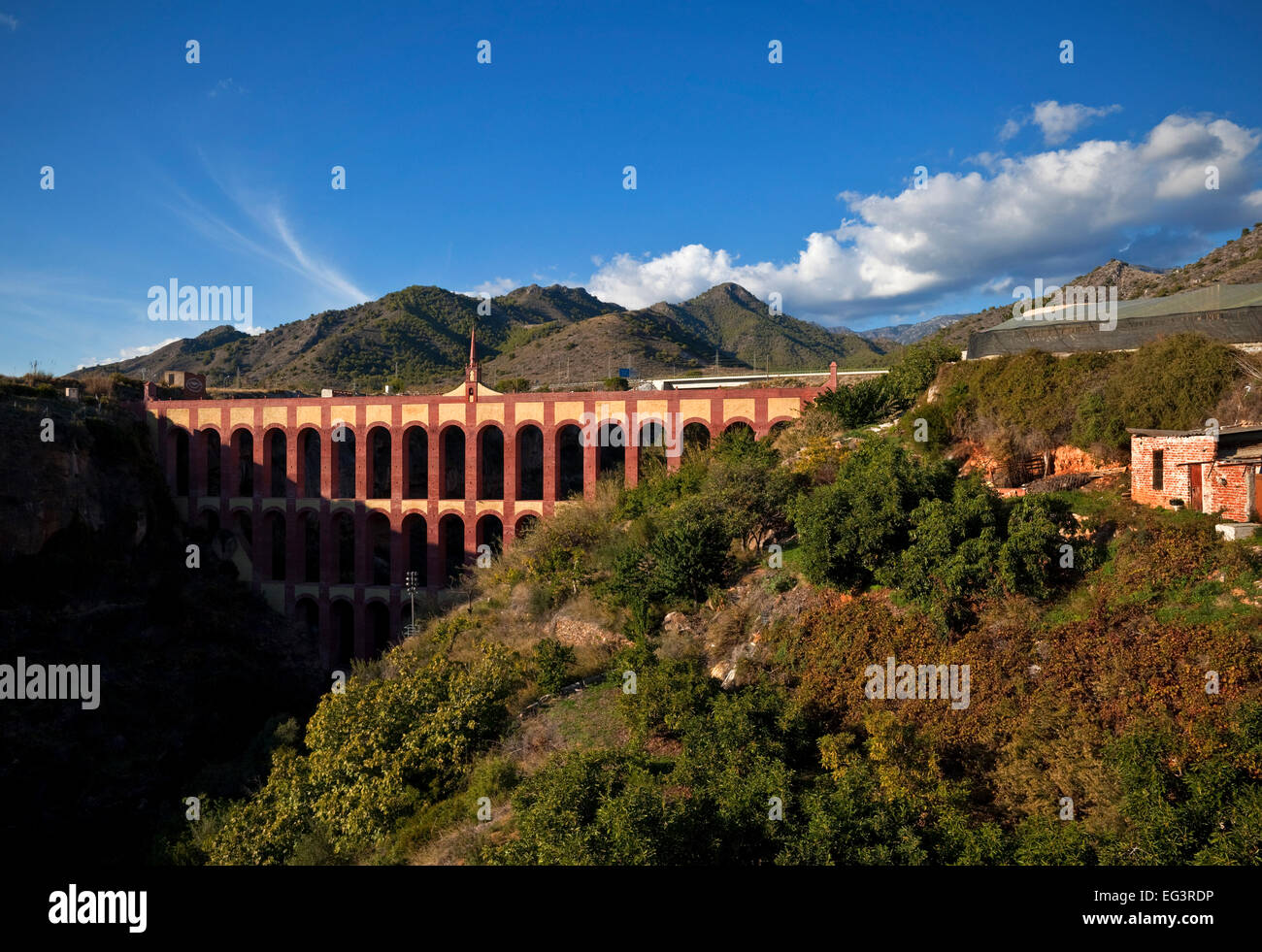 The 19th Century Eagle Aqueduct carrying water to the San Joaquin Sugar Mill, Maro-Nerja, Malaga Province Andalucia, - Stock Image