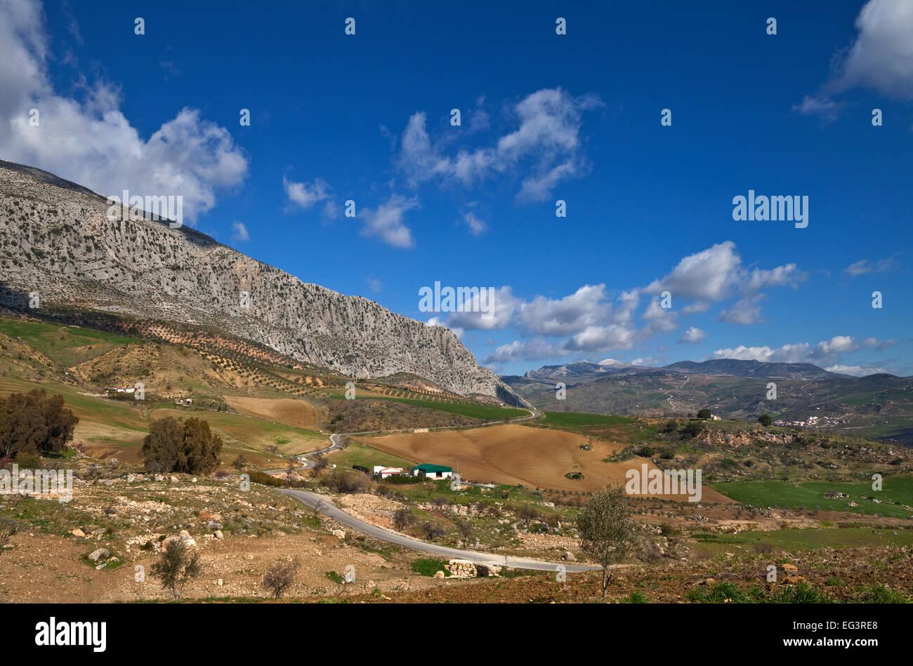 Farmland at the edge of El Torcal,  Antequera, Malaga Province,  Andalucia, Spain - Stock Image