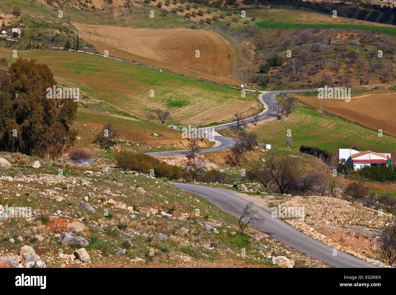 Road across farmland at the edge of El Torcal,  Antequera, Malaga Province,  Andalucia, Spain - Stock Image