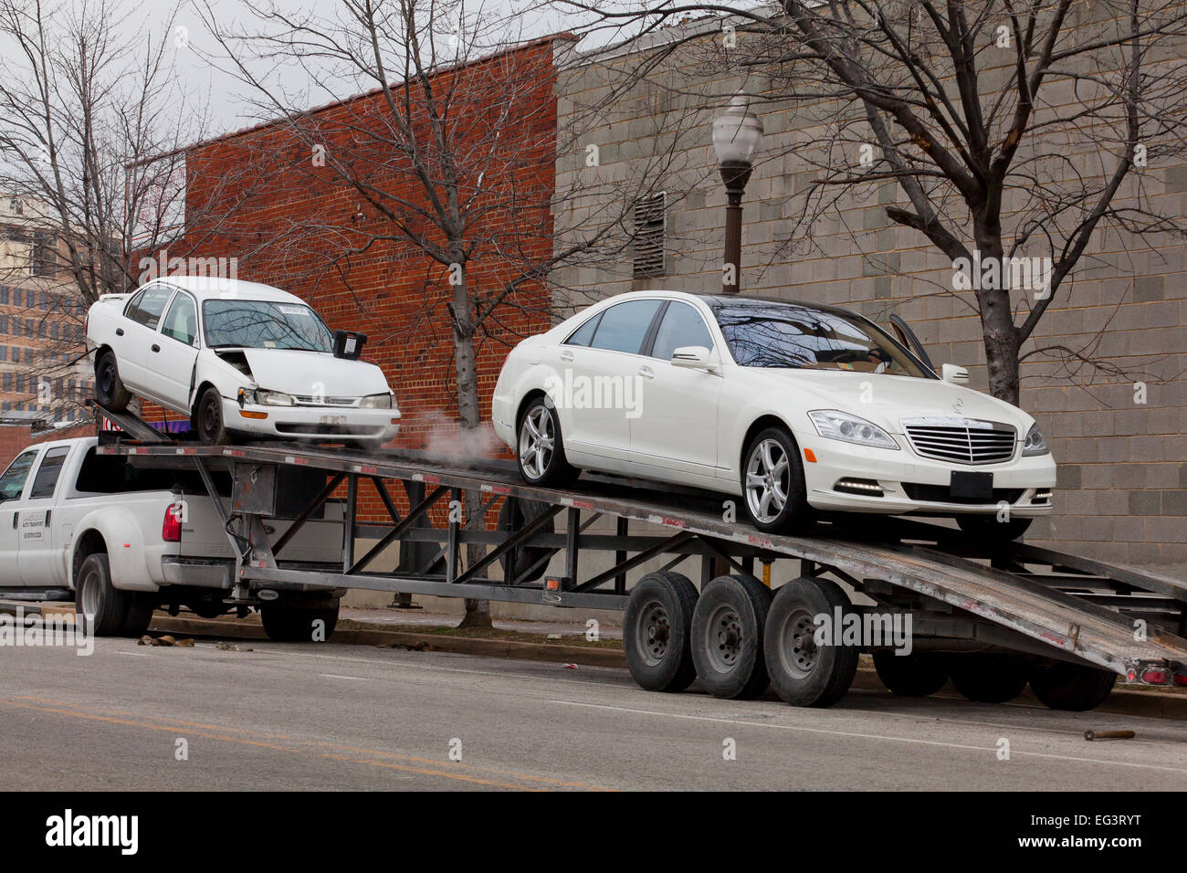 Loaded Car Transporter Stock Photos Loaded Car Transporter Stock