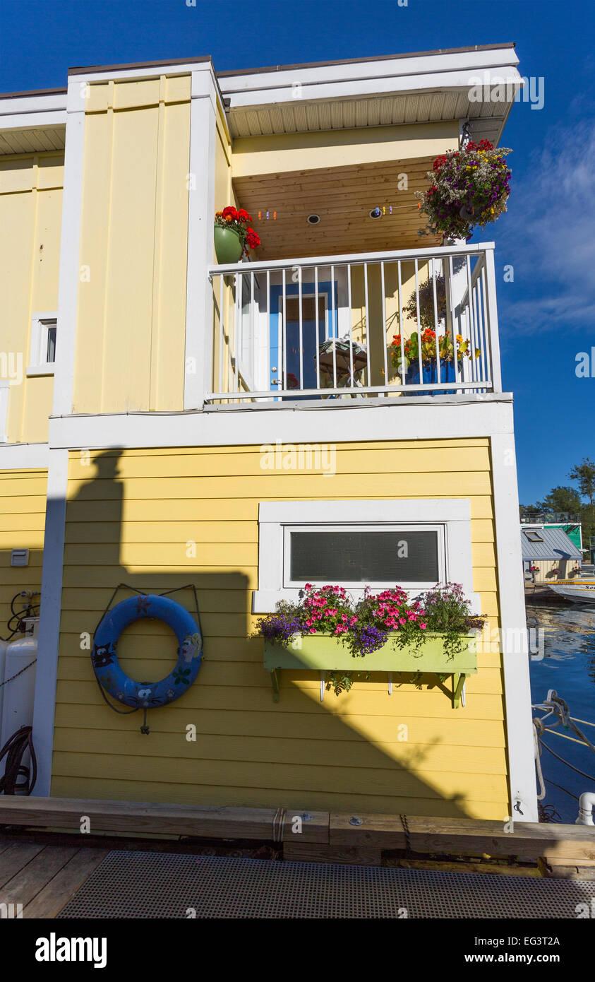 North America, Canada, British Columbia, Vancouver Island, Victoria, House Boats, Fisherman's Wharf Stock Photo