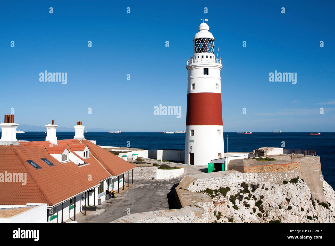 Red and white striped lighthouse at Europa Point, Gibraltar, British terroritory in southern Spain - Stock Image