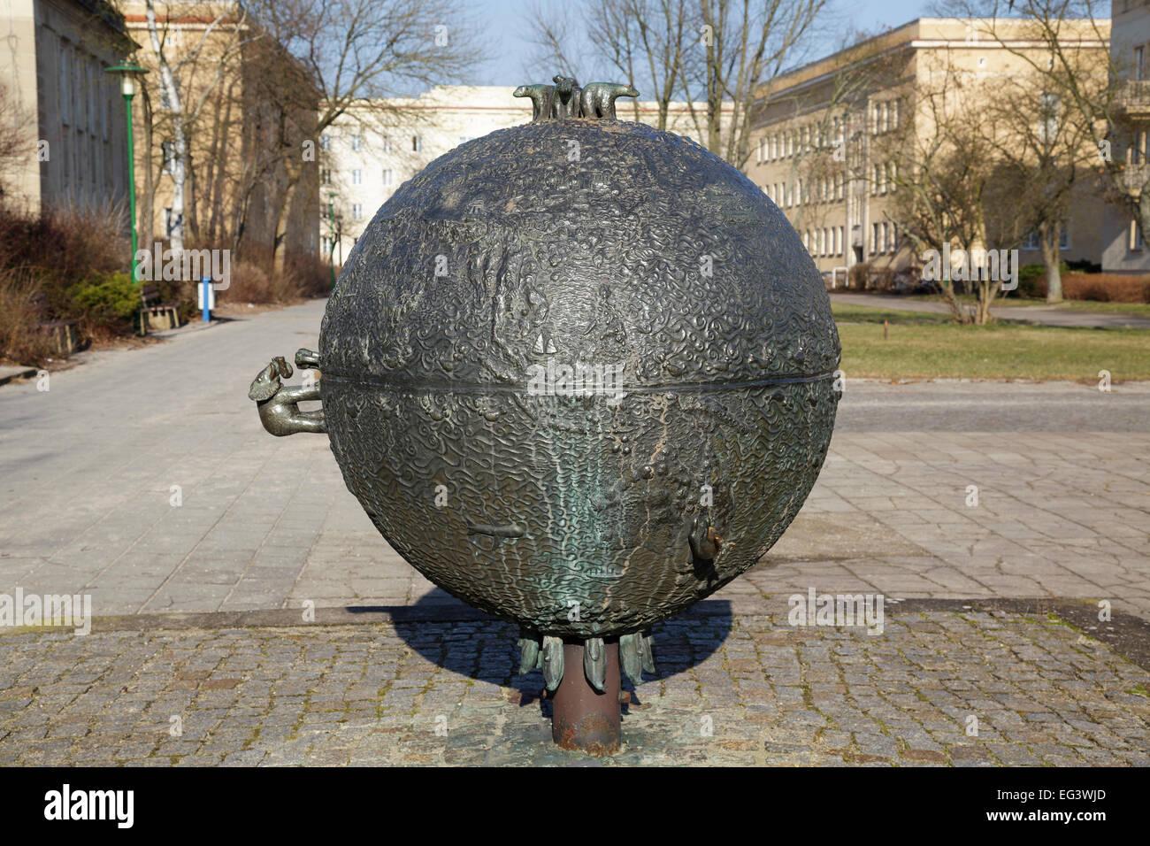 sculpture Erdkugel by Axel and Cornelia Schulz 1977/78, Eisenhuettenstadt, Brandenburg, Germany - Stock Image