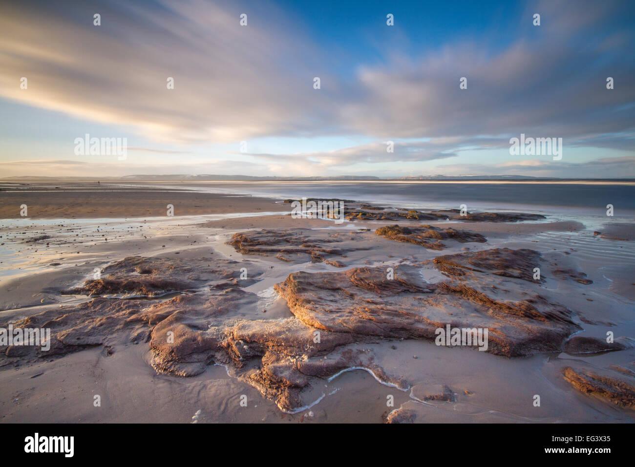 Sunset Nairn beach - Stock Image