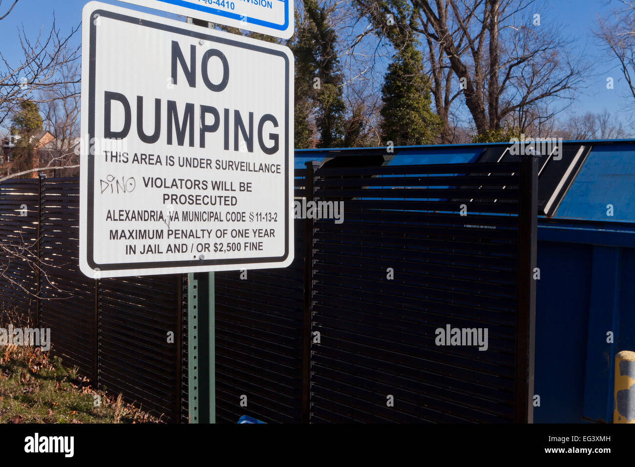No Dumping sign - USA - Stock Image