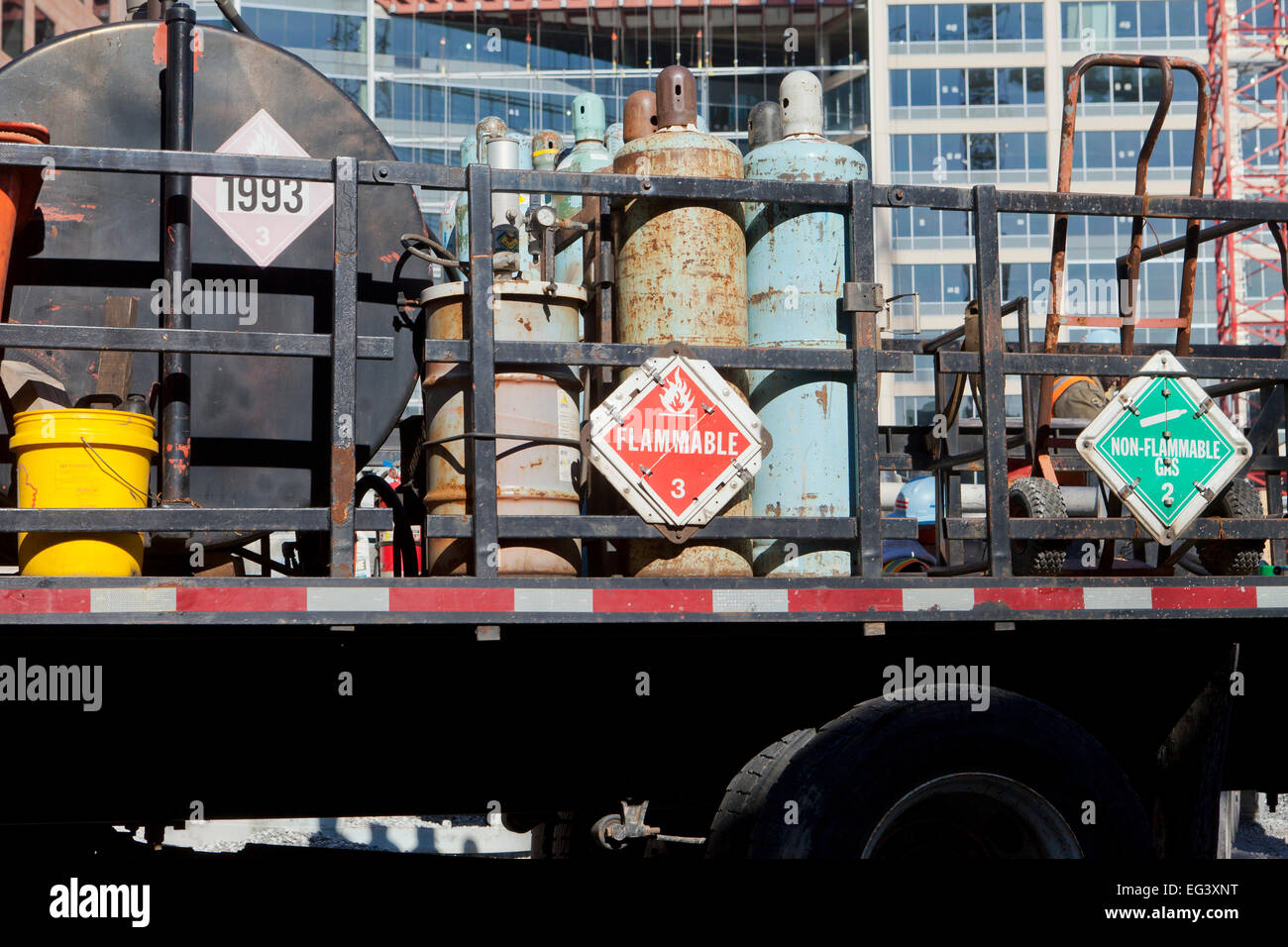 Flammable gas tanks on back of truck - USA - Stock Image