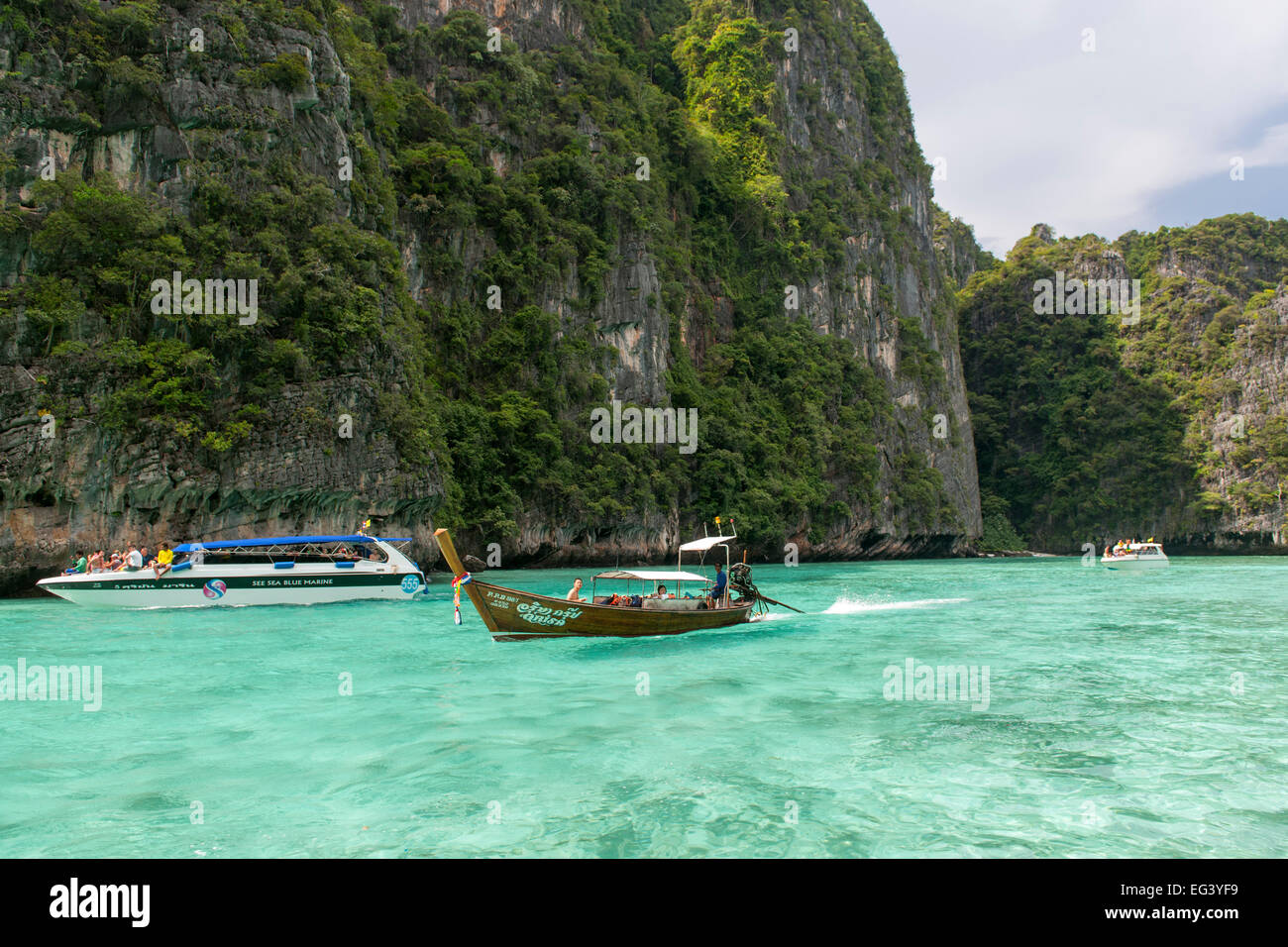 Phi Ley bay, part of Koh Phi Phi Ley island in Thailand. - Stock Image