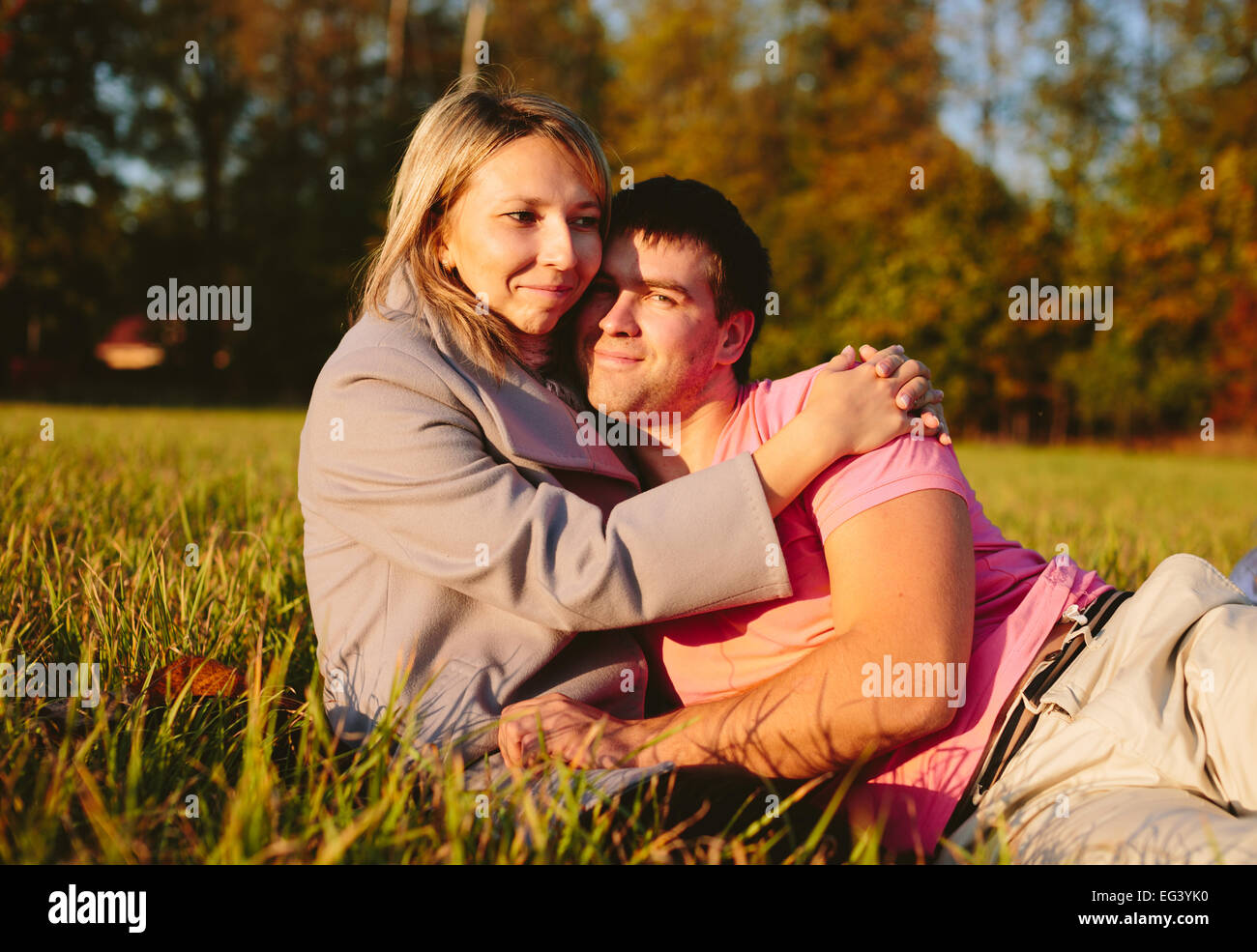 couple on meadow - Stock Image