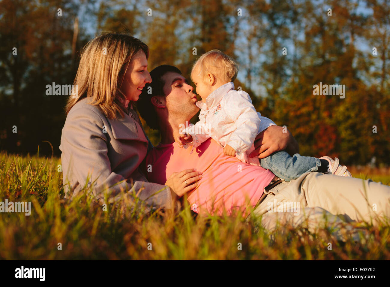 Family on the meadow - Stock Image