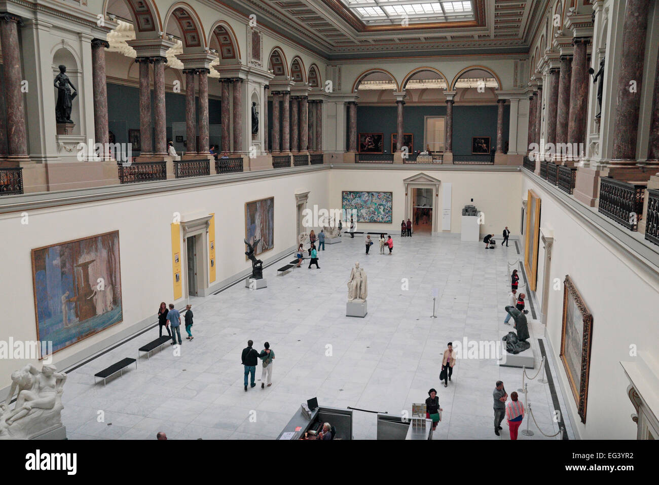 General view of the main hall in the Royal Museums of Fine Arts of Belgium, Brussels, Belgium. - Stock Image