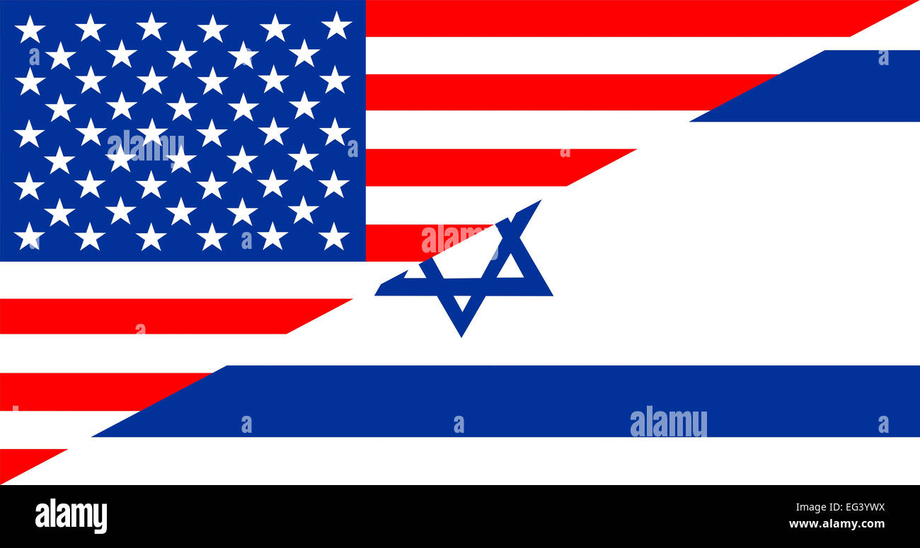 united states of america and israel half country flag - Stock Image