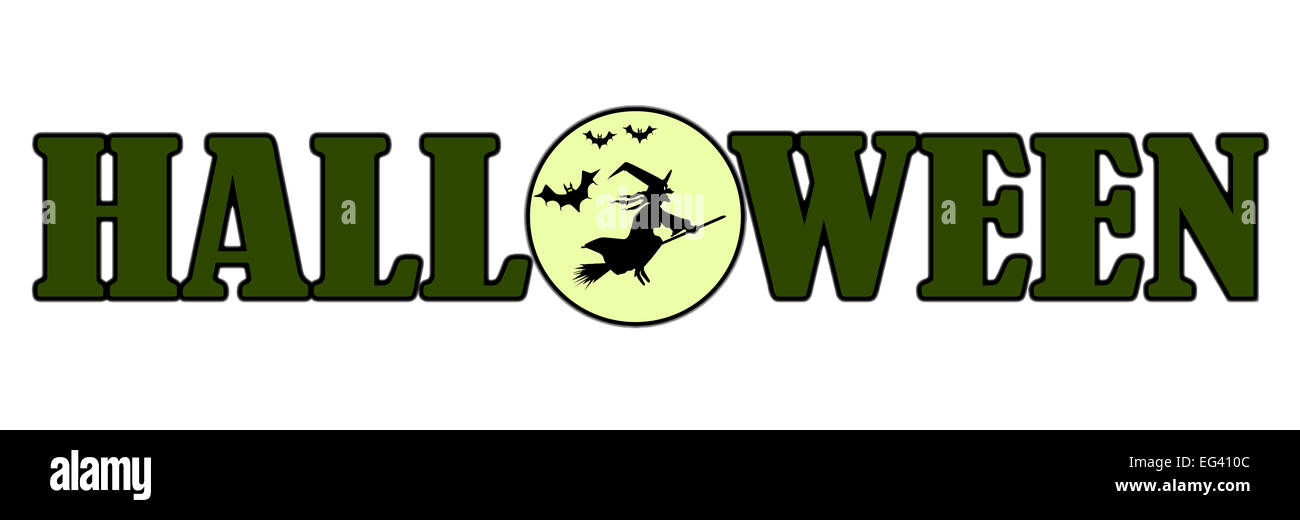 A witch and her bats flying across the full moon with the text HALLOWEEN using the moon as the middle letter - Stock Image