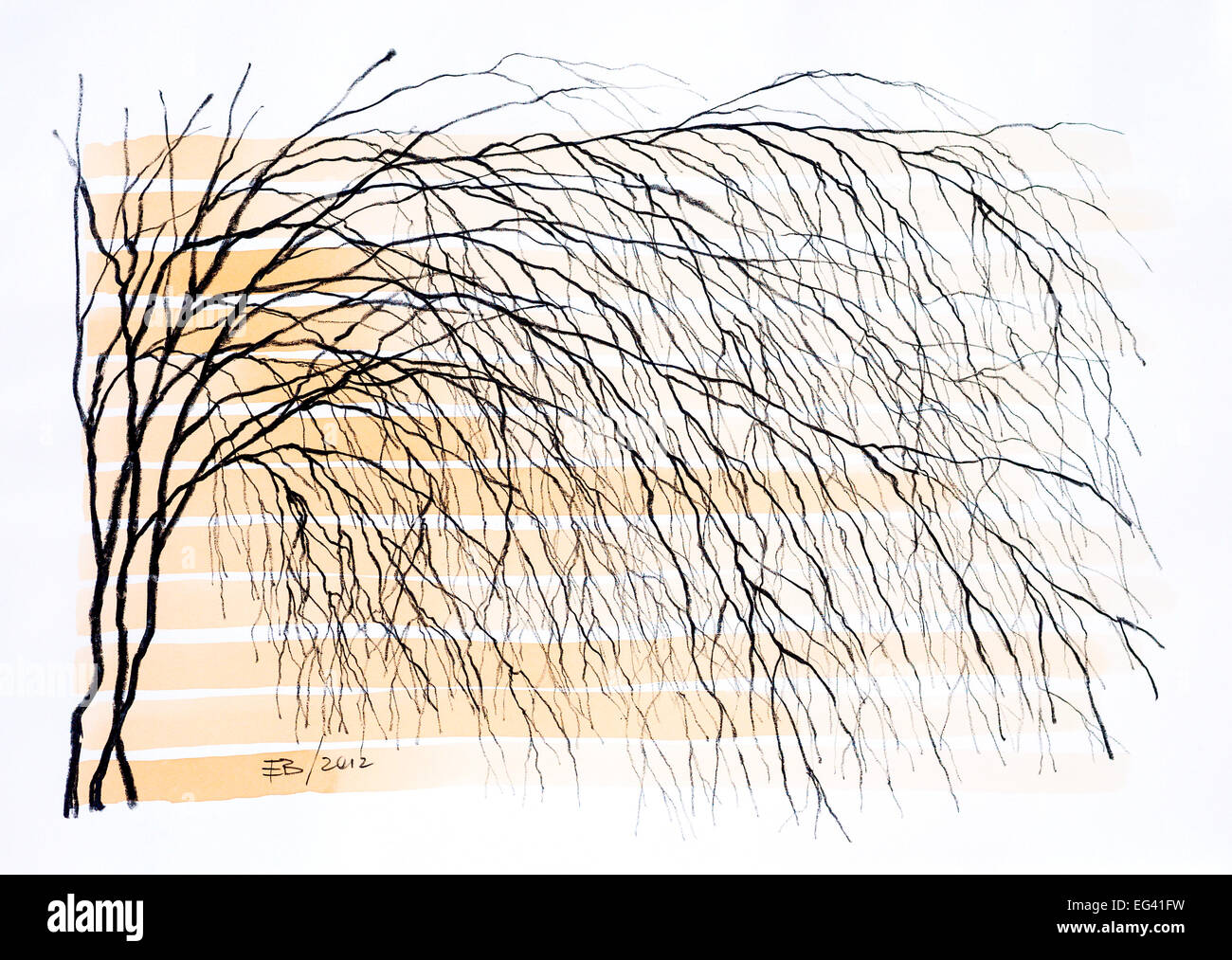 Crayon drawing of tree and river by Ed Buziak. - Stock Image