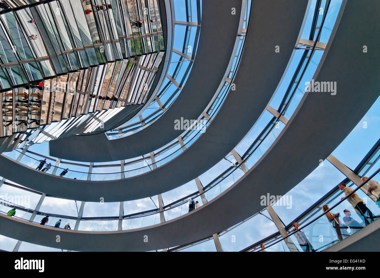 BERLIN, GERMANY - JUNE 08, 2013: people visit the Reichstag dome in Berlin, Germany. It is a glass dome constructed - Stock Image