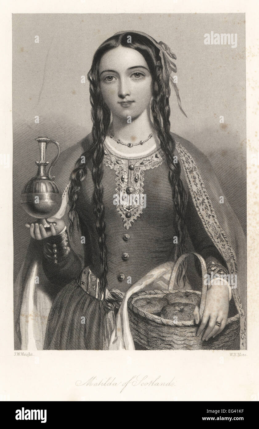 Matilda of Scotland, wife of King Henry I, Queen of England, with a basket of bread and metal jug. Stock Photo