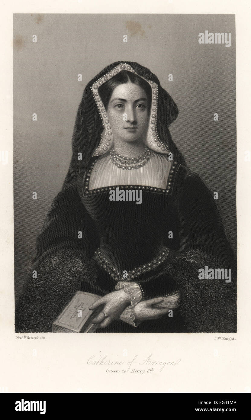 Catherine of Aragon, queen of King Henry VIII of England. Steel engraving by J.W. Knight after a portrait by Frederick - Stock Image
