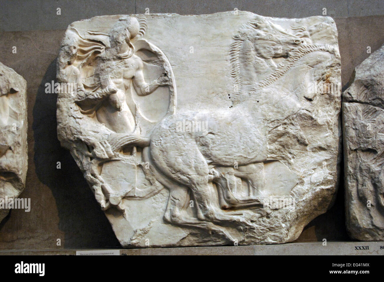 Parthenon. South frieze. 447-432BC. Greek Classical period.  Cavalry. XXXI panel. British Museum. London. England. - Stock Image