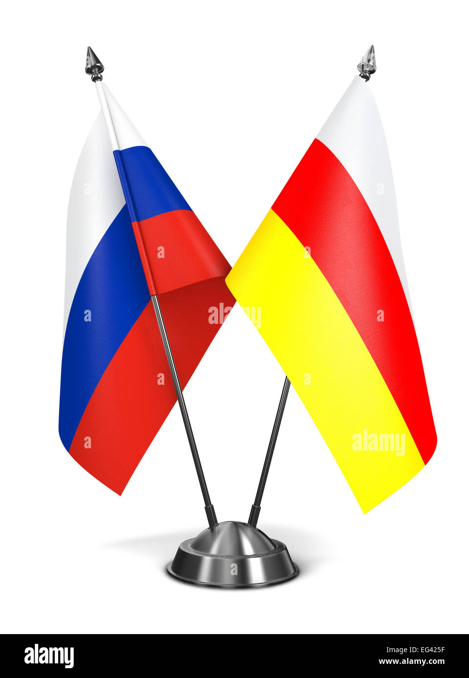 Russia and South Ossetia - Miniature Flags. - Stock Image