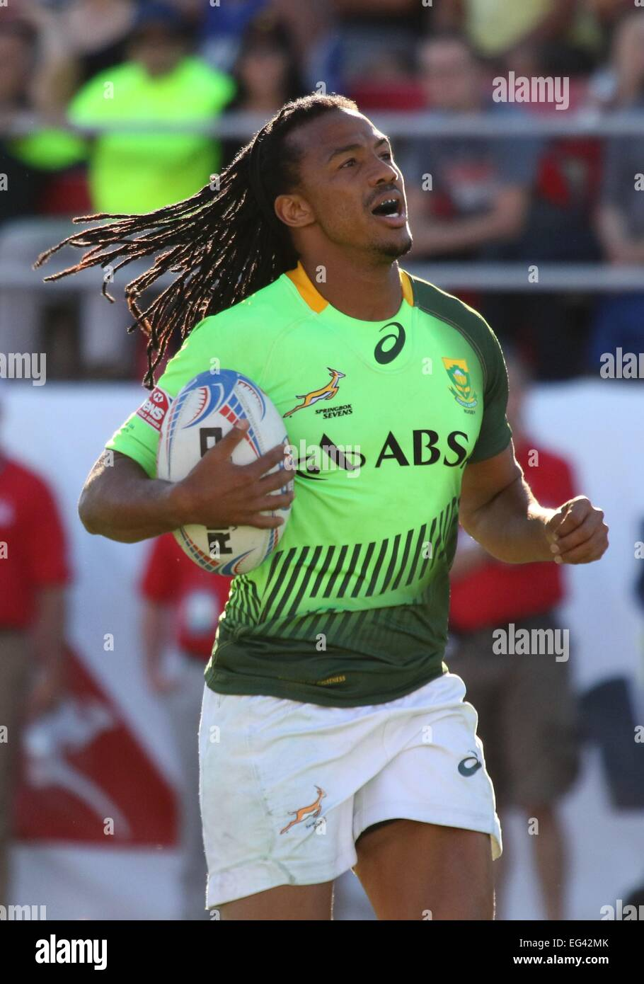 Las Vegas, NV, USA. 15th Feb, 2015. Cecil Afrika of South Africa in attendance for 2015 USA Sevens International - Stock Image