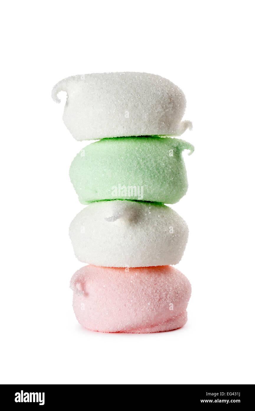 marshmallow stack, isolated on white Stock Photo