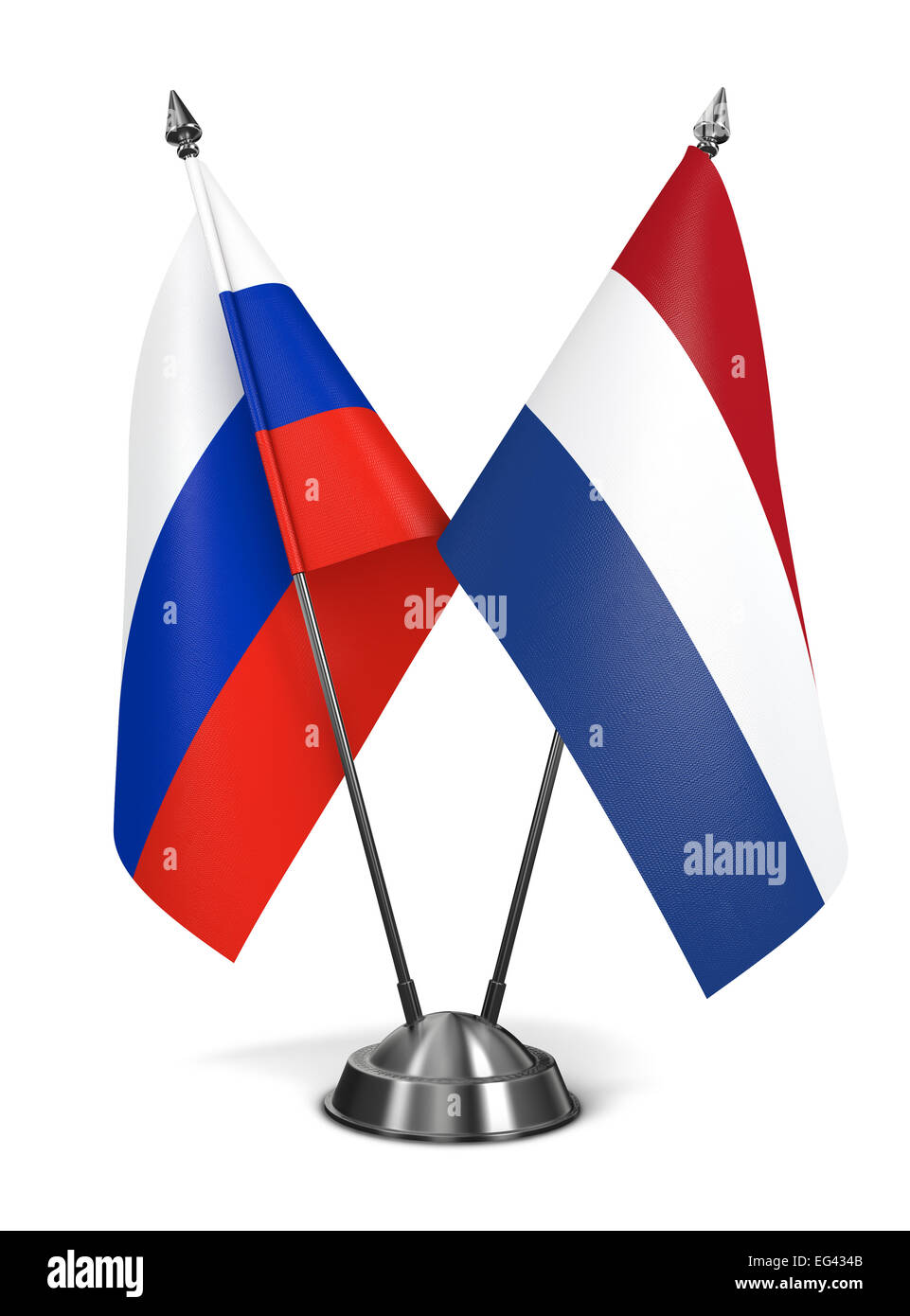 Russia and Netherlands - Miniature Flags. Stock Photo