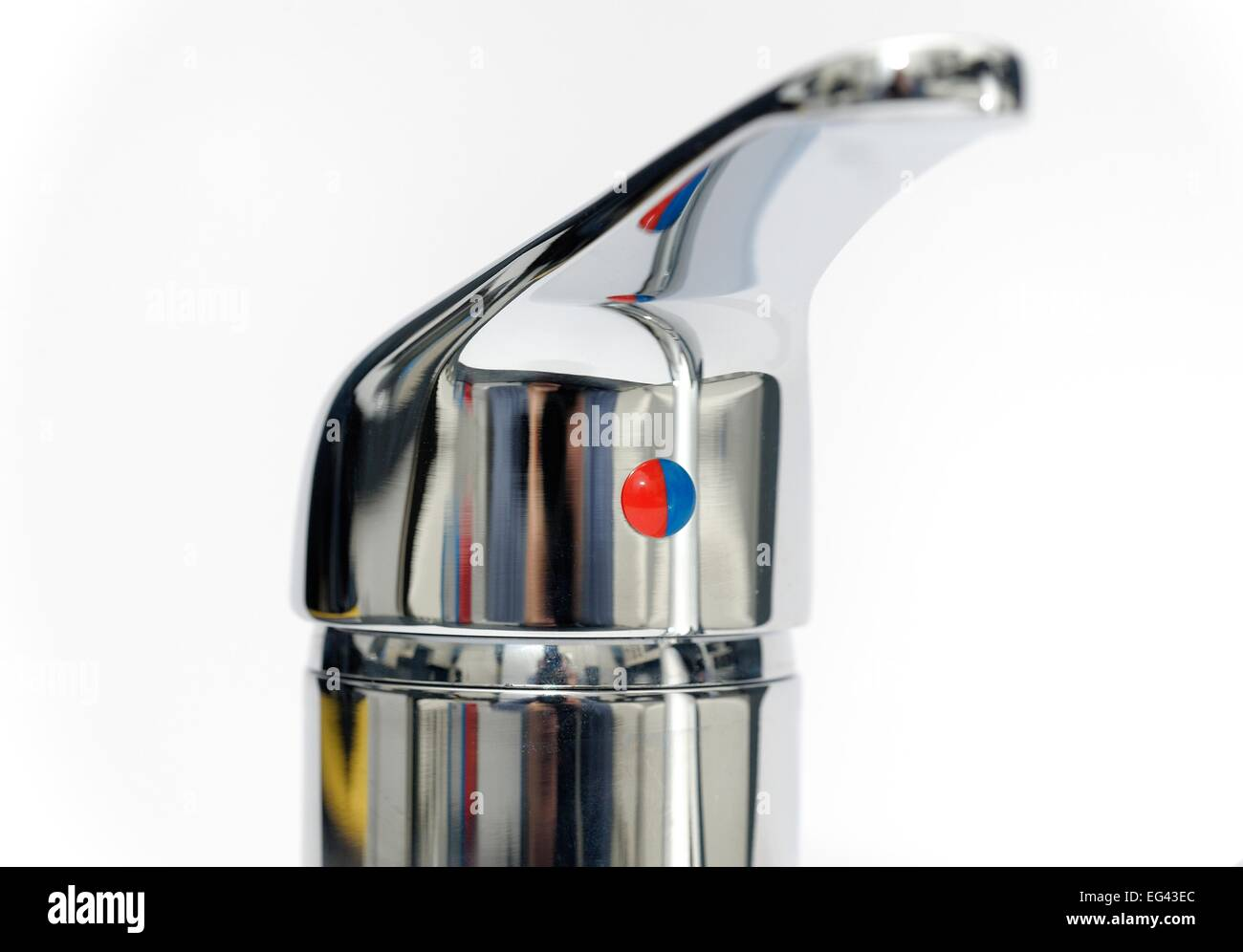 A red and blue indicator on a domestic kitchen tap red for hot and blue for cold England UK - Stock Image