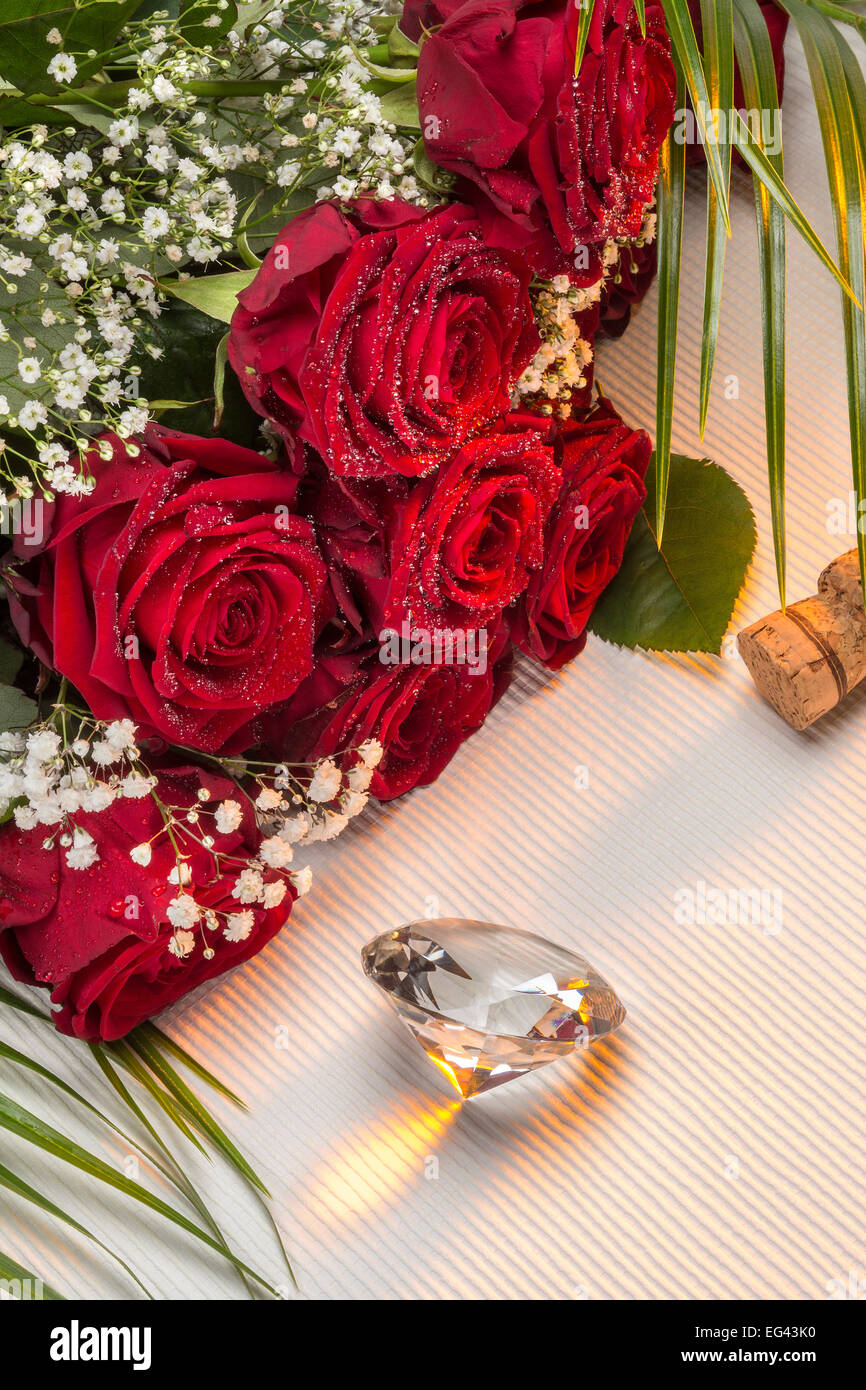 Valentines Day - Red Roses - Stock Image