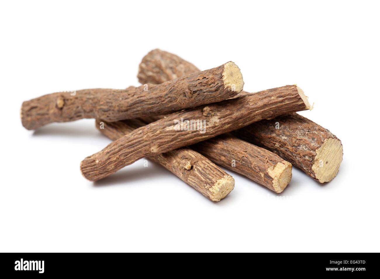 liquorice root, on white background - Stock Image
