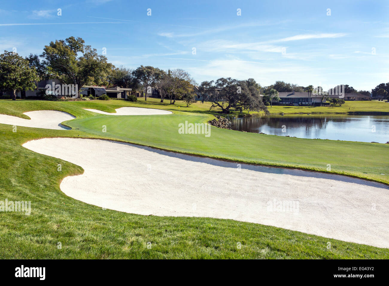 Iconic 18th green at Arnold Palmer's Bay Hill Golf Course, Orlando, Florida, America - Stock Image
