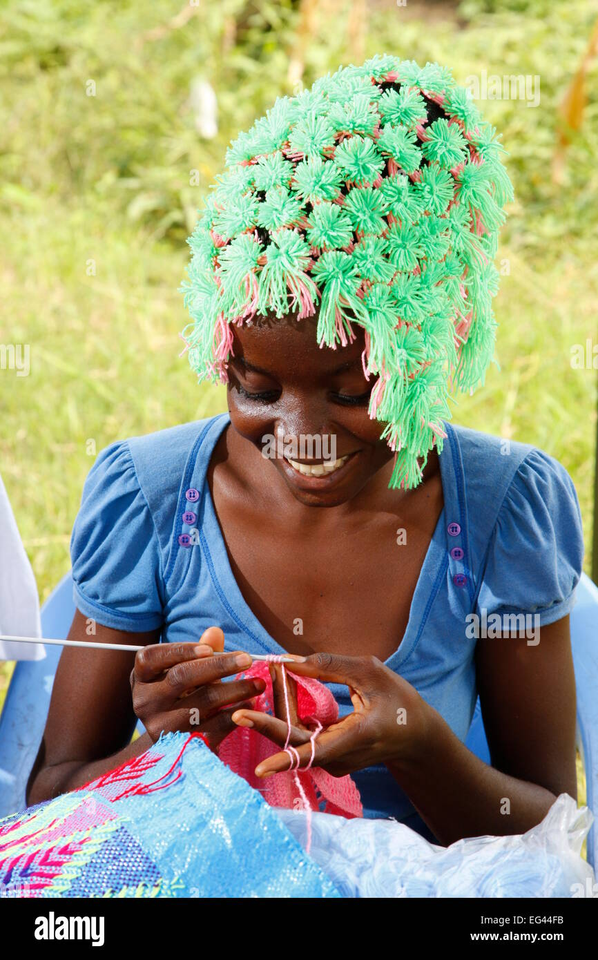 Woman crocheting, Women's Project, Kinshasa, Congo - Stock Image